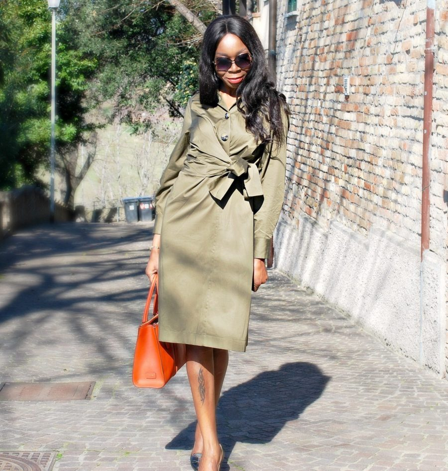 Style Sequence//Olive Midi Dress With Side Bow