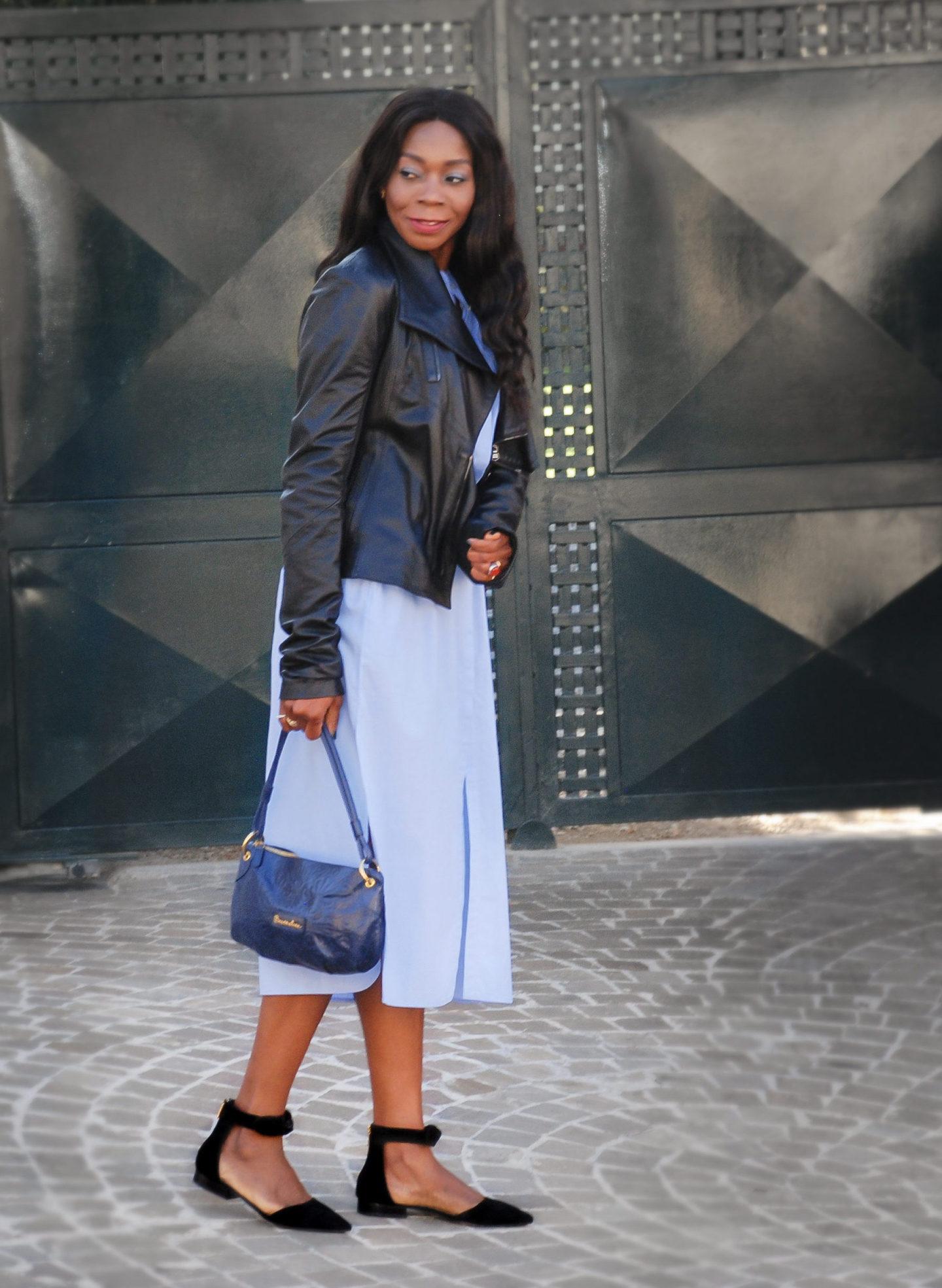 Sky Blue Shirt Dress For Fall