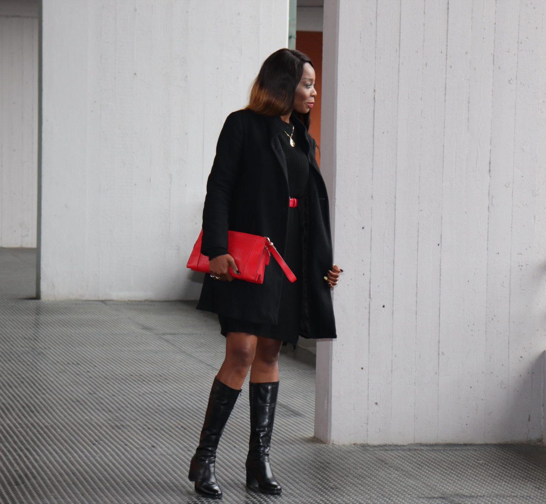 Black Sweater Dress On Black For Winter