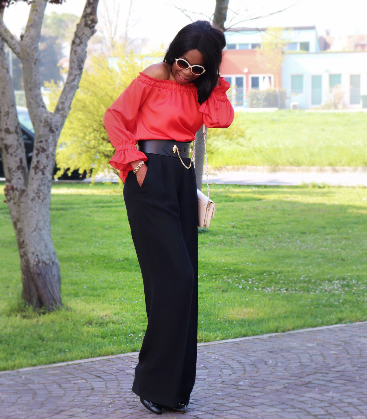 How To Style Bardot Blouse and A High Waist  Flare Trousers